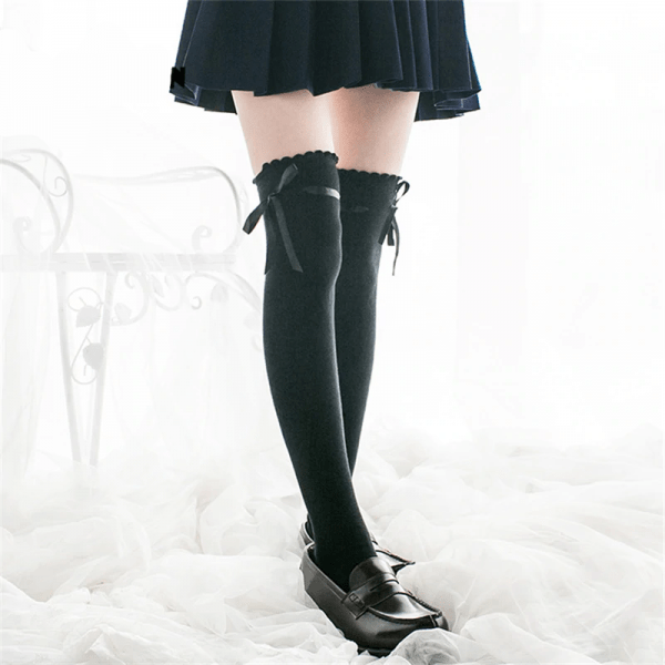 Lace Top High Socks Over Kne