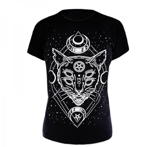 T-Shirt with Gothic Star and Cat Print 5