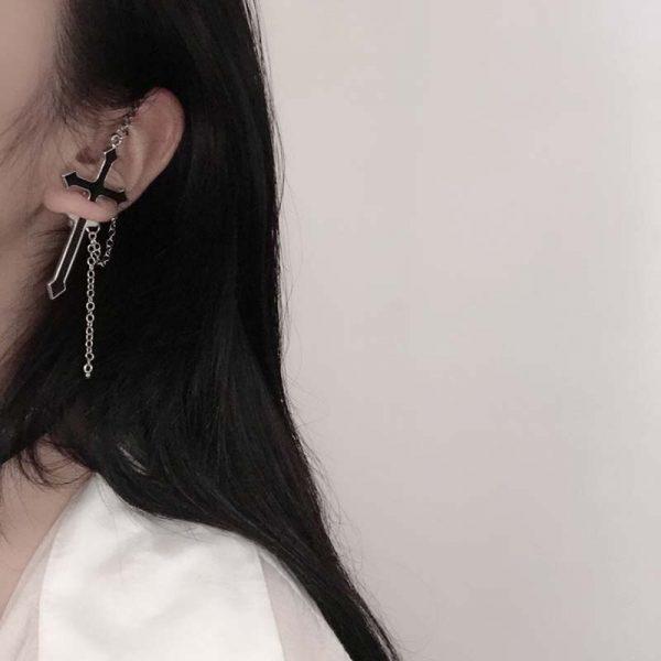 Cross Drop Earring with chain 4