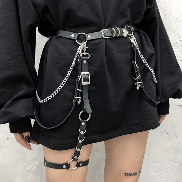 Punk Belt With Metal Waist Chain 8