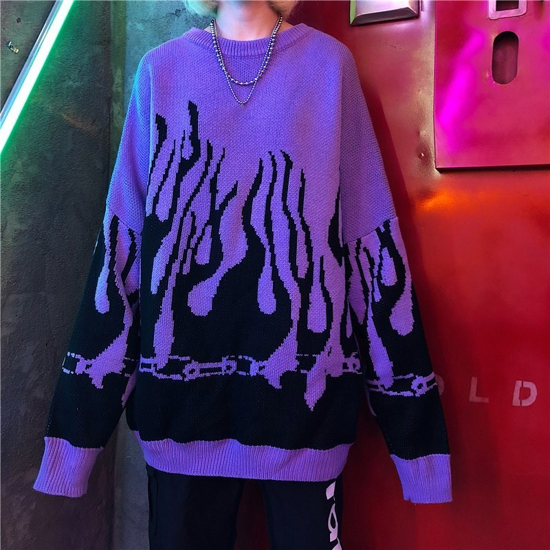 Flame Knitting Batwing Sleeve Sweater E-girl Punk 54
