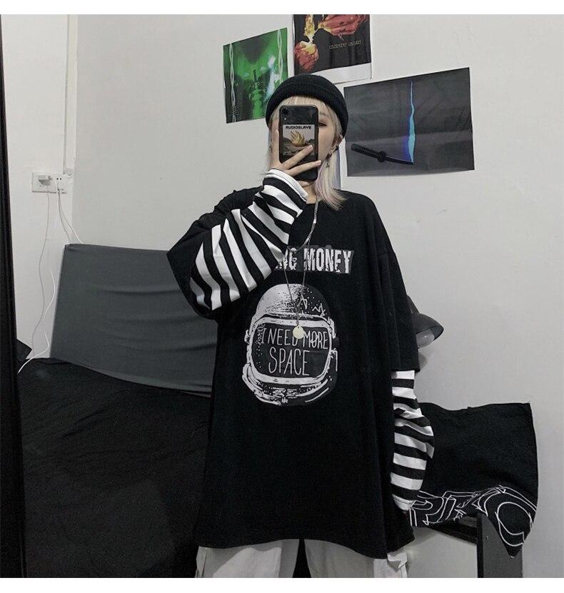 Letter Print stripe Long Sleeve T-shirt E-girl 48