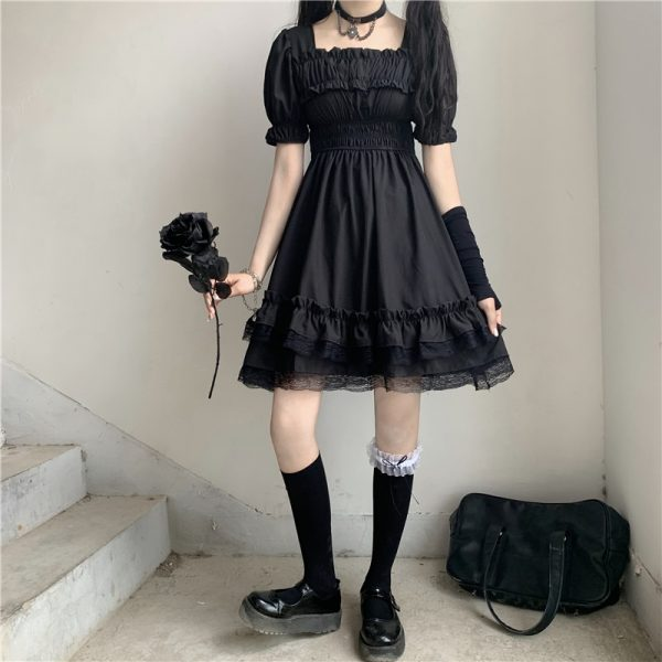 Harajuku Dark Style Dress with Vintage Square Collar and Puff Sleeves  2