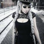 Black Dress with Mesh Shoulders 5