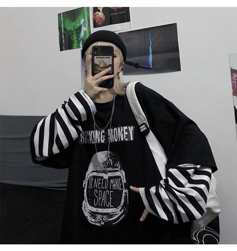 Letter Print stripe Long Sleeve T-shirt E-girl 47