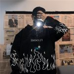 Oversized hoodie with flame print 3