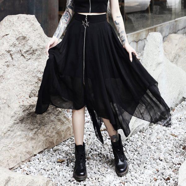 Loose Asymmetric Skirt with zipper 9