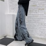 Wide Blue Pants with Print 3