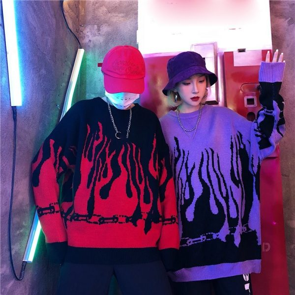 Flame Knitting Batwing Sleeve Sweater 18