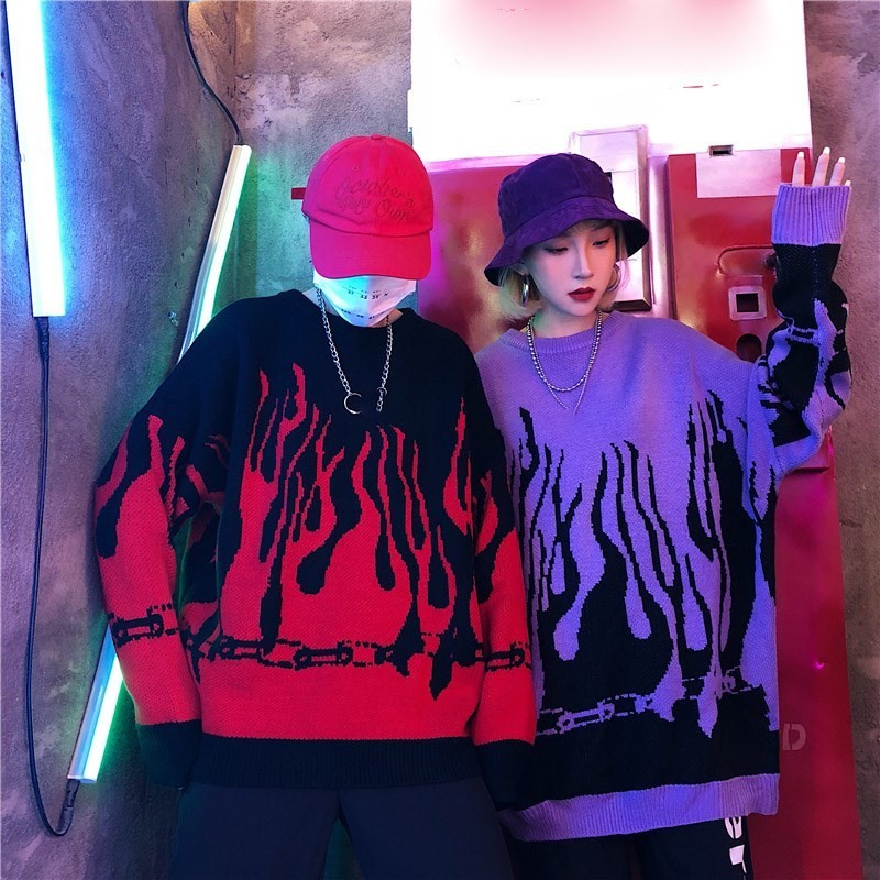 Flame Knitting Batwing Sleeve Sweater E-girl Punk 51