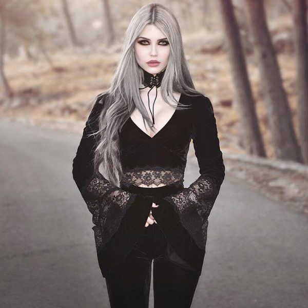 Gothic Long Sleeve Crop Top with Lace 3