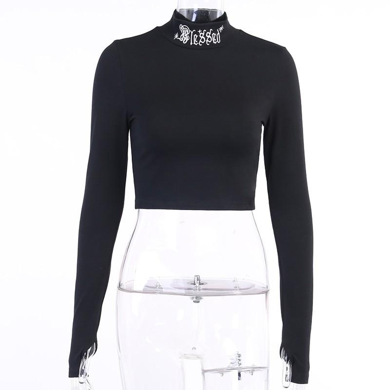 Black Bodycon Long Sleeve Crop Top E-girl 41