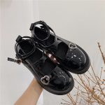 Lolita shoes with platform round head and heart buckles 2
