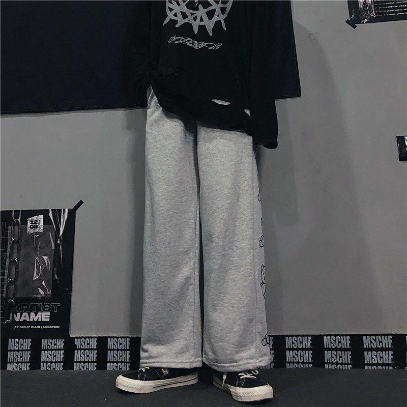 Wide Leg Pants with Cartoon Print E-girl Punk 53