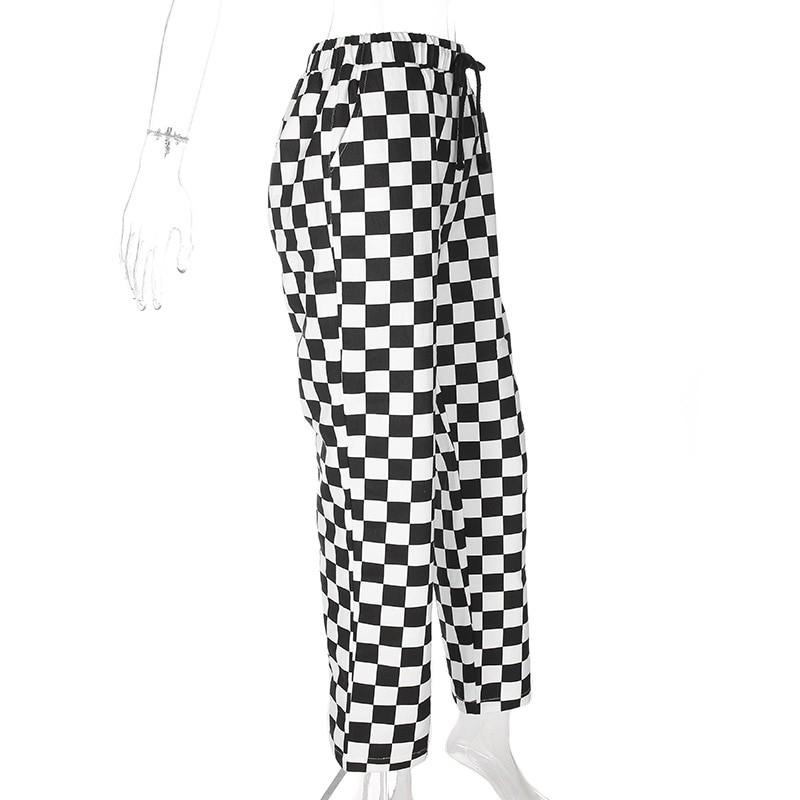Checkered High Waist  Pants E-girl 42