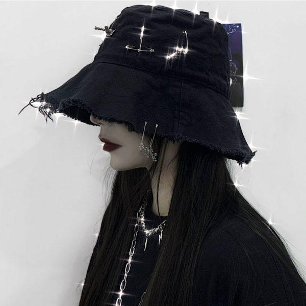 Harajuku Bucket  Hat with Pins 2