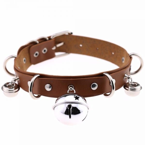Leather Choker with Bells and rings 6