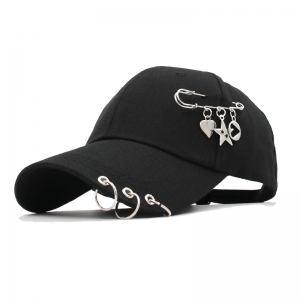 Baseball cap with Iron rings and pendants