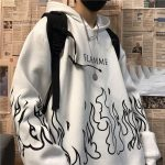 Oversized hoodie with flame print 1