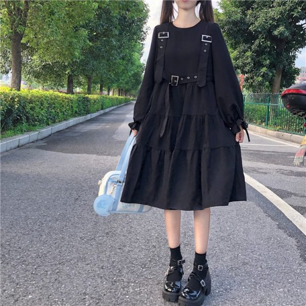 Harajuku Black Midi Dress 8