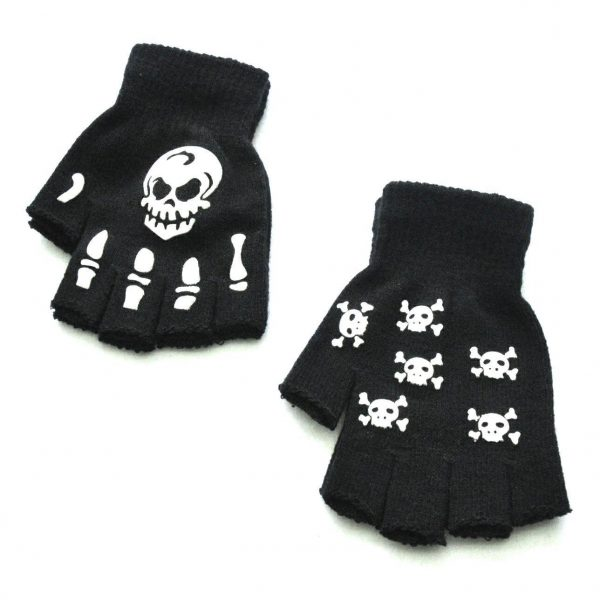 Knitting Half Finger Glove with Skeleton 5