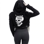 Gothic Cropped Hoodie with Skull Print