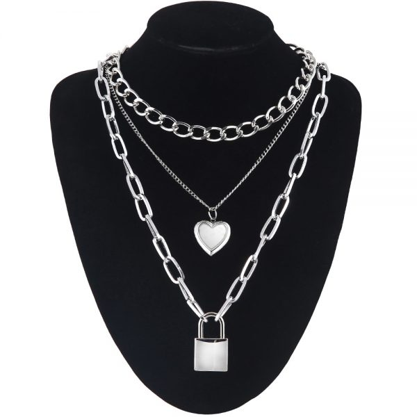 Multilayer Chain Necklace With Padlock and Heart Pendants 7