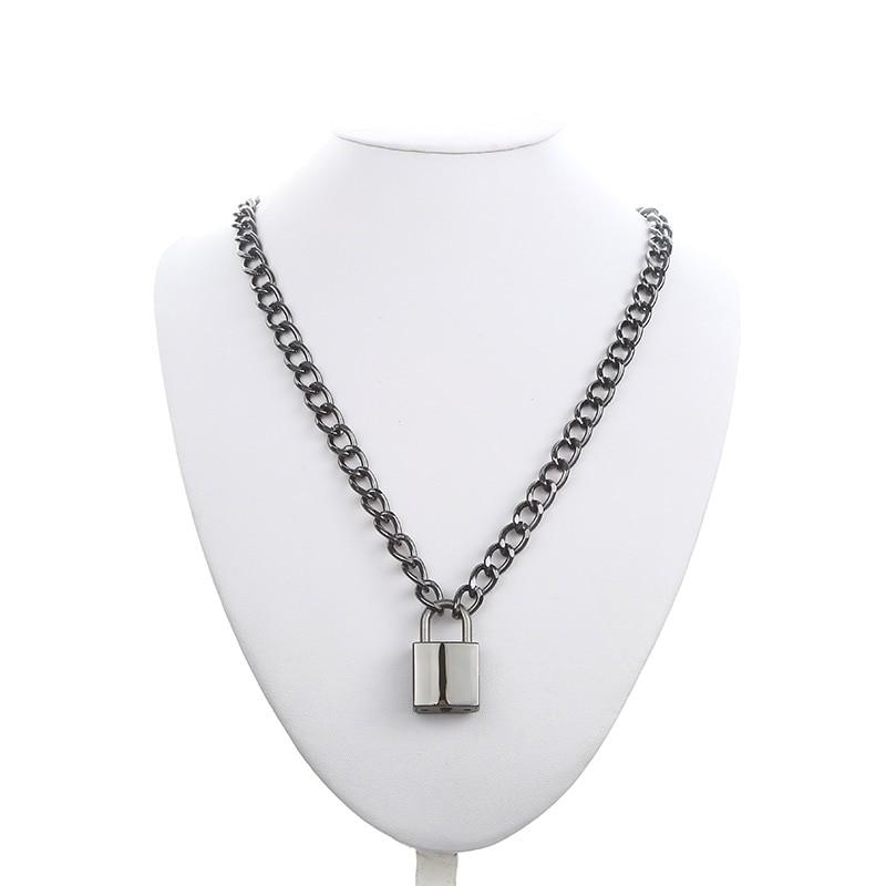 Black Chain With Lock Necklace egirl 42