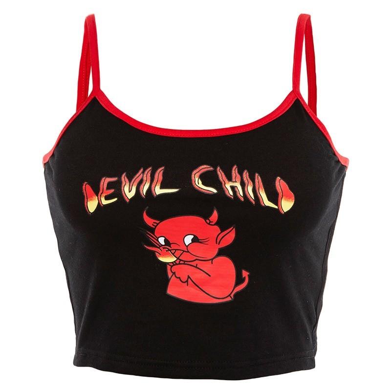 Devil Print Crop Top E-girl Punk 1
