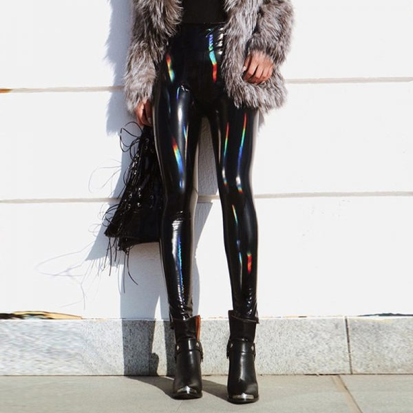 PU Leather Black Skinny Leggings 1