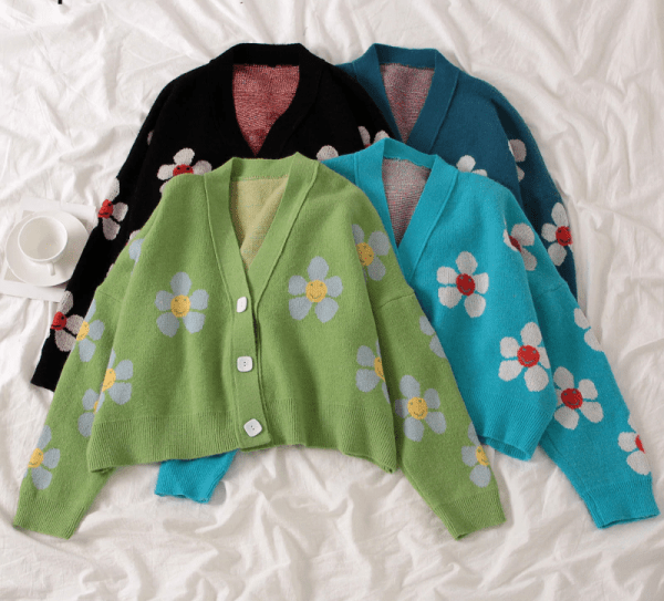 Flower Knitted Loose  Sweater