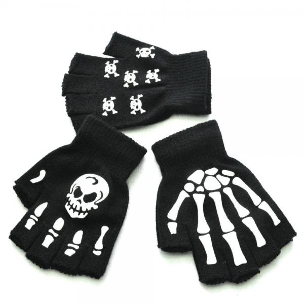 Knitting Half Finger Glove with Skeleton 2