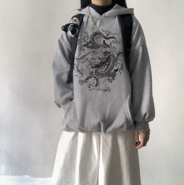 Dragon Element Print Harajuku hoodie 5