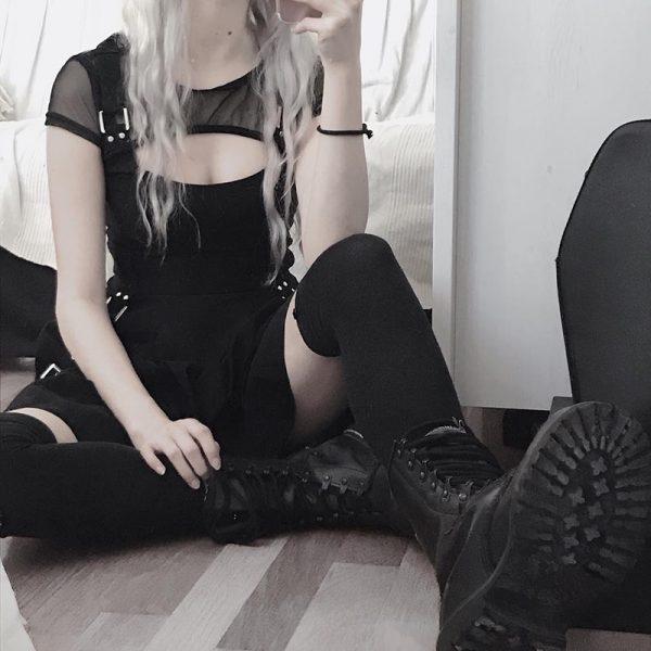 Black Dress with Mesh Shoulders 15