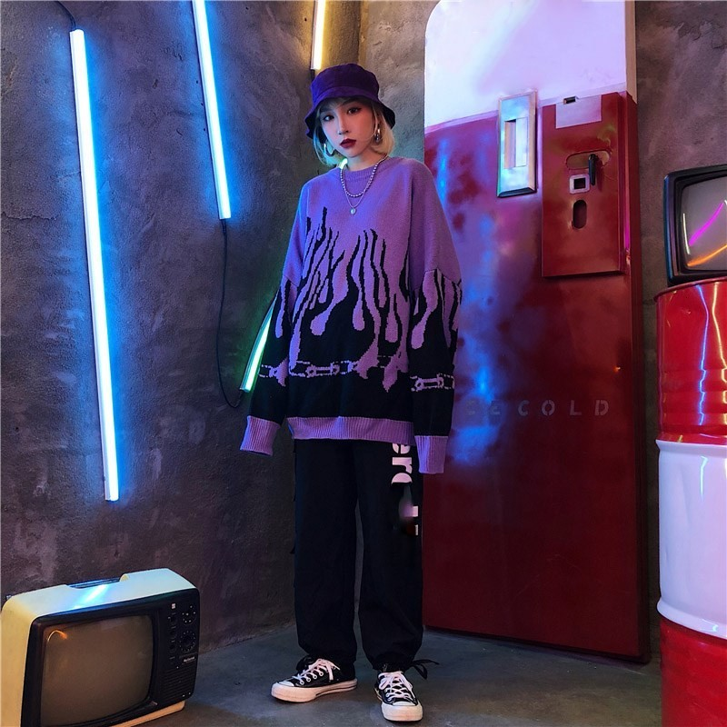 Flame Knitting Batwing Sleeve Sweater E-girl Punk 43