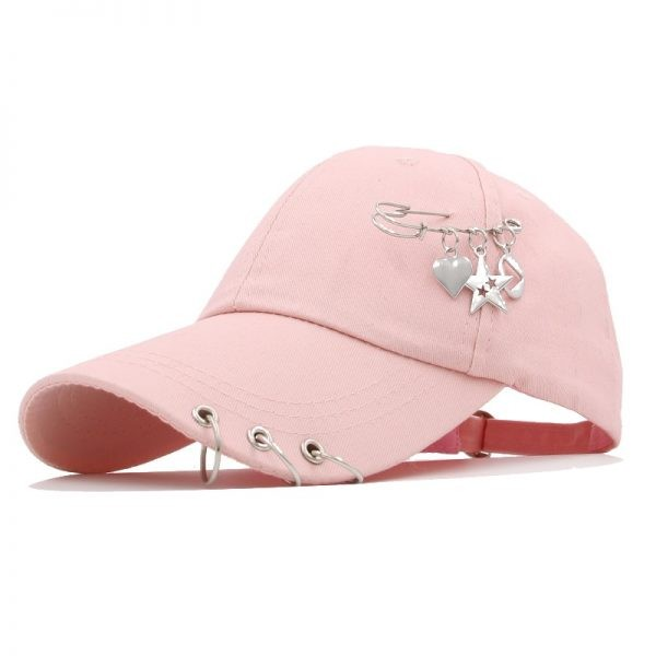 Baseball cap with Iron rings and pendants 2