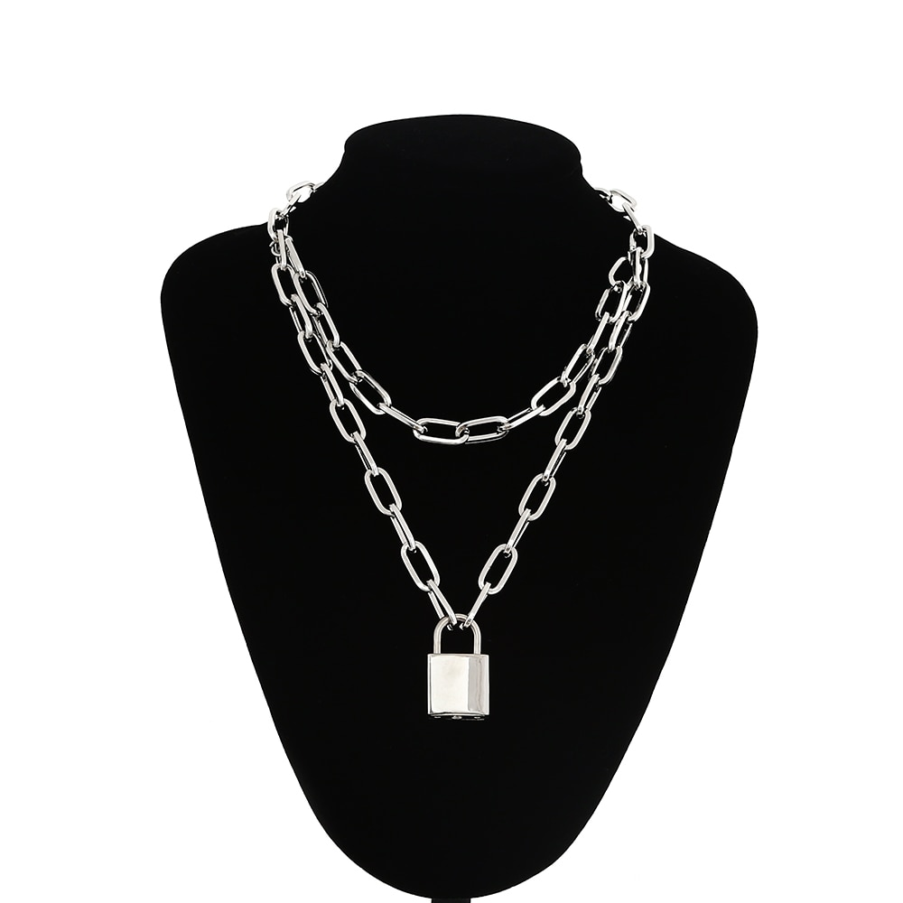 Multilayer Chain Necklace With A Padlock Pendant_3 43