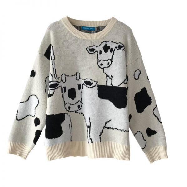 Loose Cow print Sweater  5