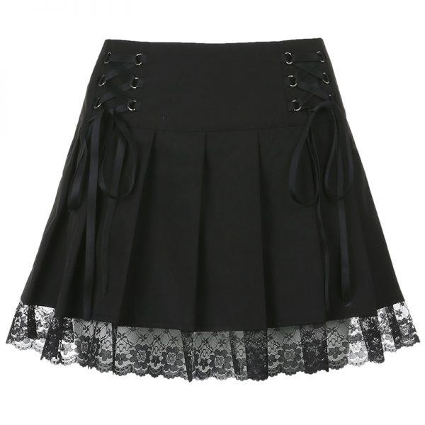 Lace Pleated Mini Skirt 8