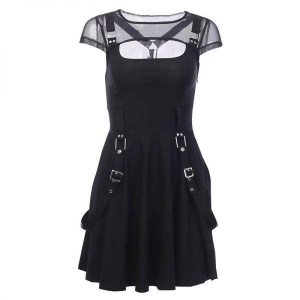 Black Dress with Mesh Shoulders 6