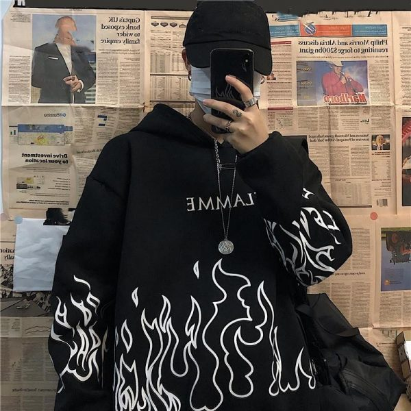 Oversized hoodie with flame print 5