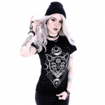 T-Shirt with Gothic Star and Cat Print 2