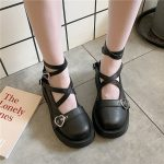 Lolita shoes with platform round head and heart buckles 3