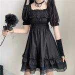 Harajuku Dark Style Dress with Vintage Square Collar and Puff Sleeves  6
