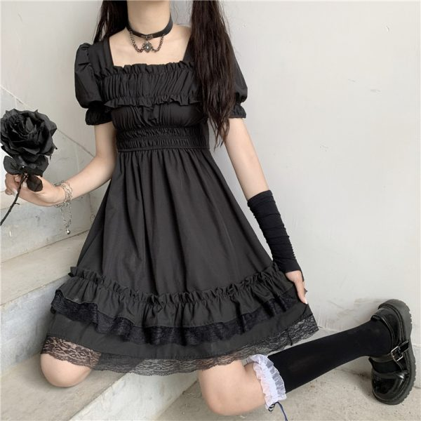 Harajuku Dark Style Dress with Vintage Square Collar and Puff Sleeves  1