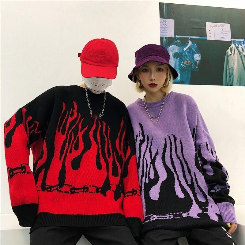 Flame Knitting Batwing Sleeve Sweater E-girl Punk 52