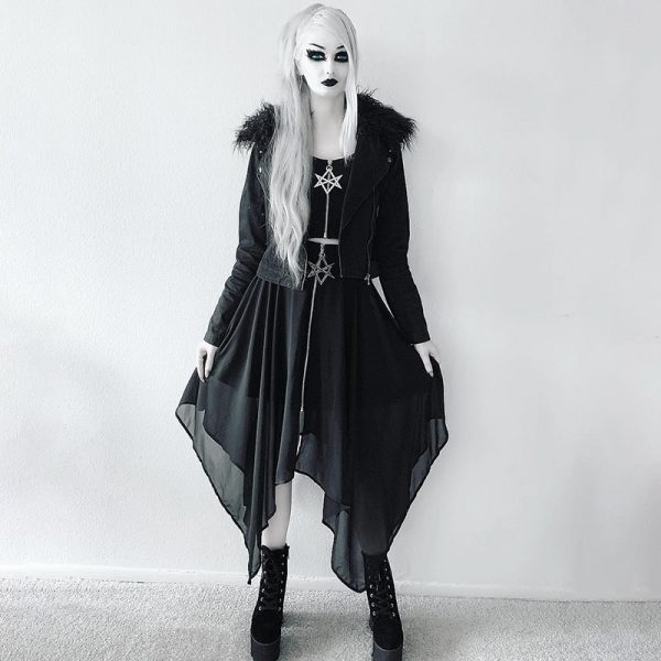 Loose Asymmetric Skirt with zipper 15