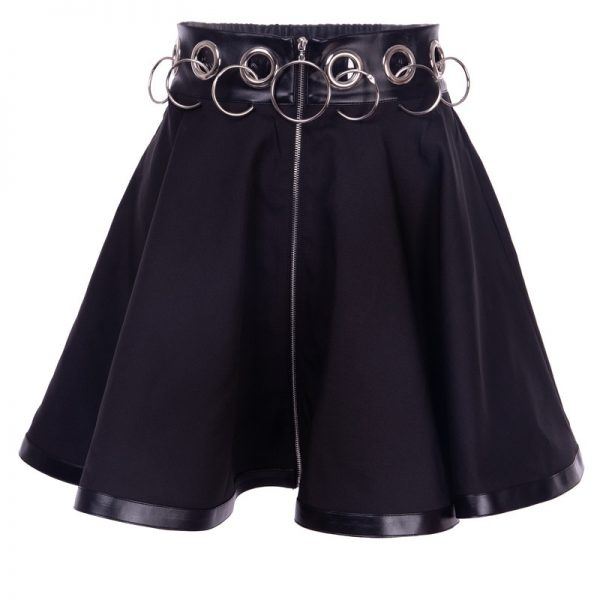 Black Mini Skirts with  Rings and Zipper 6