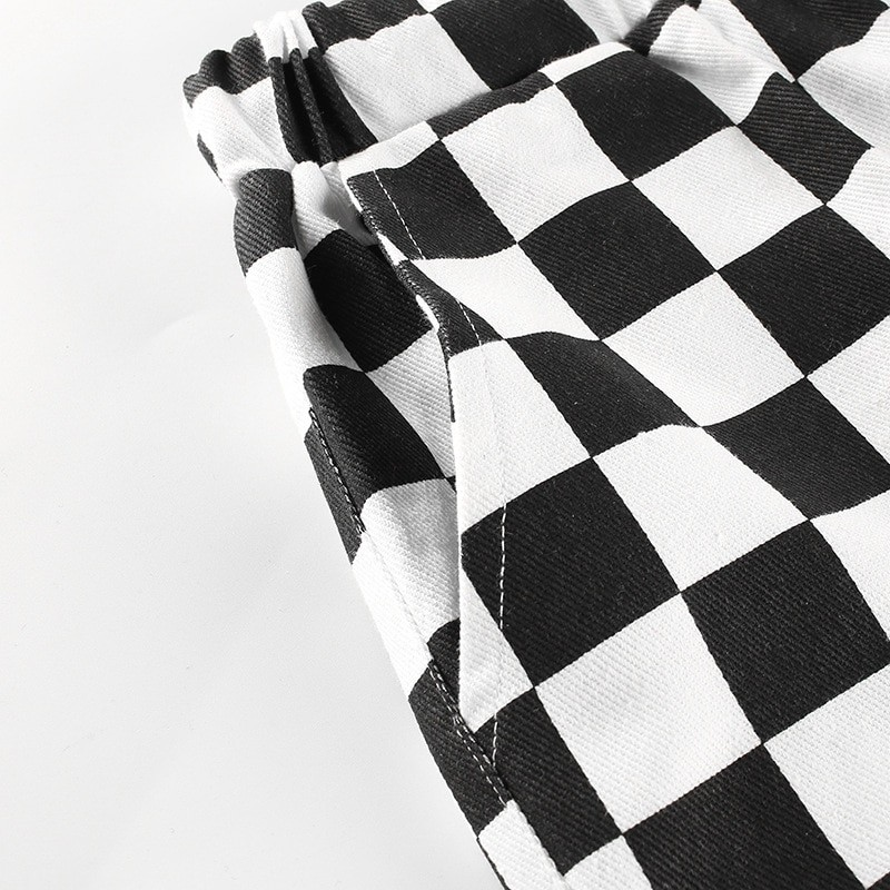 Checkered High Waist  Pants E-girl 45