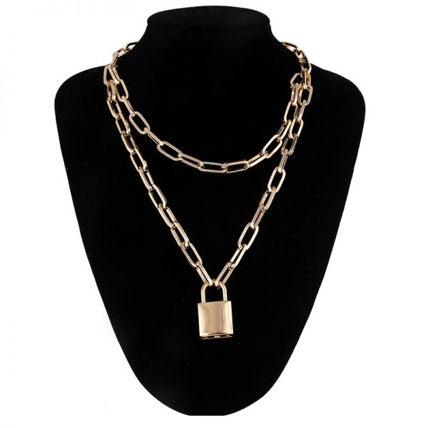 Multilayer Chain Necklace With A Padlock Pendant_2 7